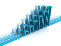 Financial rising bar chart graph with reflection Stock Image