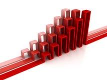 Financial rising bar chart graph with reflection Royalty Free Stock Image