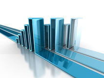 Financial rising bar chart graph with reflection. business grow Royalty Free Stock Photos