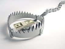 Financial risk. Dollars stack sitting on bear trap - 3d render Royalty Free Stock Photography