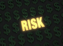 Financial Risk. A bright, glowing yellow RISK stands out in a dark field of green dollar signs Stock Photography