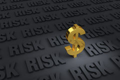 Financial Risk Everywhere. A gold dollar sign in the foreground stands in a dark plane of gray RISK receding into the distance Royalty Free Stock Photo