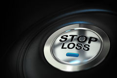 Financial risk management. Stop loss button with blue led over black background, finance concept Stock Images