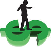Financial risk. Person walking in equilibrium over the dollar Stock Images