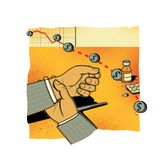 Financial risks. Falling stock indices. A man in a suit checks his hand with a pulse. Medicines and tablets on the table.  stock illustration
