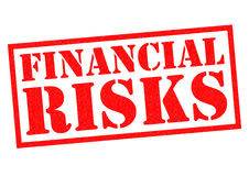 FINANCIAL RISKS. Red Rubber Stamp over a white background Stock Photo