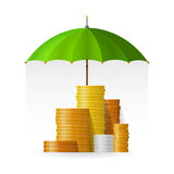 Financial safety and insurance concept with coin piles in flat style.  Stock Image