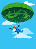 Financial Safety for seniors. Happy senior skydiving using a financial parachute, EPS 8 vector illustration Royalty Free Stock Images