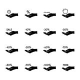 Financial and sale icons. Financial, discount, commission and sale set of vector icons stock illustration