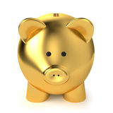 Golden Piggy Bank. Financial, savings and business concept with a golden piggy bank or money box on white background Royalty Free Stock Photos