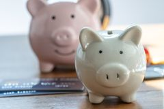 Financial savings money account, white and pink piggy bank on pi royalty free stock images