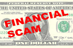 Financial Scam - financial concept. Render illustration of FINANCIAL SCAM title on One Dollar bill as a background Stock Photography