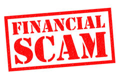 FINANCIAL SCAM. Red Rubber Stamp over a white background Royalty Free Stock Photo