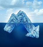 Financial Secrets. And hidden losses as a business concept for risk management as an iceberg shaped as a downward finance chart arrow for hidden dangers hiding Stock Photography