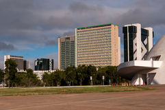 Financial Sector of Brasilia. Brasilia, Brazil - June 6, 2015: Buildings of South Banking Sector. All the buildings of the complex are own by national banks of Royalty Free Stock Photos