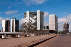 Financial Sector of Brasilia. Brasilia, Brazil - June 6, 2015: Buildings of South Banking Sector. All the buildings of the complex are own by national banks of Royalty Free Stock Photo