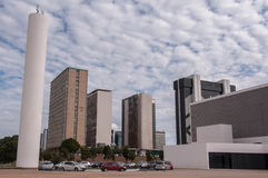 Financial Sector of Brasilia City. Brasilia, Brazil - June 3, 2015: Buildings of South Banking Sector. All the buildings of the complex are own by national banks Stock Image