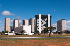 Financial Sector of Brasilia City. Brasilia, Brazil - June 7, 2015: Buildings of South Banking Sector. All the buildings of the complex are own by national banks Royalty Free Stock Photography