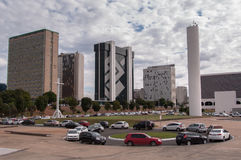 Financial Sector of Brasilia City. Brasilia, Brazil - June 3, 2015: Buildings of South Banking Sector. All the buildings of the complex are own by national banks Royalty Free Stock Photo
