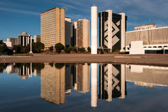 Financial Sector of Brasilia City. Brasilia, Brazil - June 6, 2015: South Banking Sector buildings reflected in water. All the buildings of the complex are own Stock Photos