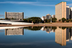 Financial Sector of Brasilia City. Brasilia, Brazil - June 6, 2015: South Banking Sector buildings reflected in water. All the buildings of the complex are own Royalty Free Stock Images