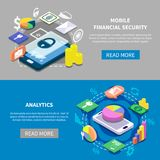 Financial Security Banners Set. Isometric set of two mobile financial security and internet banking banners 3d isolated vector illustration Stock Photos
