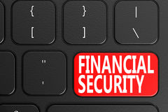 Financial Security on black keyboard. 3D rendering Stock Photography