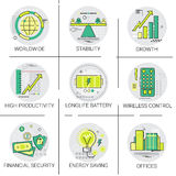 Financial Security Business Banking Growth Icon Set Modern Digital Technology Energy Savings Stock Image