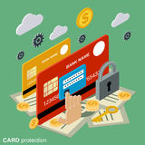 Financial security, card protection flat isometric vector concept. Illustration Royalty Free Stock Photography