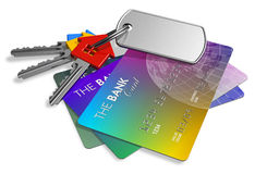 Financial security concept. Bunch of color house-shape keys with credit cards isolated over white background Stock Images