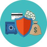 Financial security concept. Flat design. Icon in turquoise circle on white background Stock Image