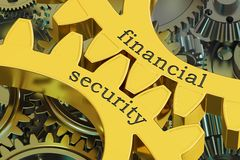 Financial Security concept on the gearwheels, 3D rendering Stock Images