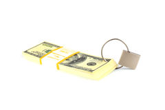 Financial security concept - padlock and dollars Stock Image