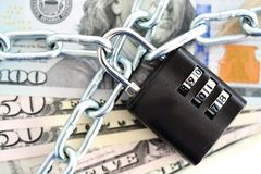 Free Financial Security Concept With Chain And Padlock On Cash Banknotes Royalty Free Stock Image - 106823456