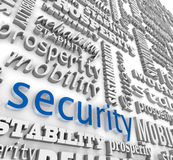 Financial Security 3D Word Background Prosperity Stability. The word Security in 3d letters on a background wall collage with other words like stability Stock Photo