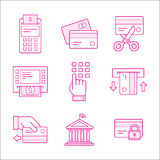 Financial security icons. Linear design Financial security icons Royalty Free Stock Image
