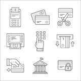 Financial security icons. Linear style. Financial security icons. Simple design for infographics Royalty Free Stock Images