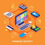 Financial Security Illustration. Internet banking financial security isometric concept on orange background 3d vector illustration Royalty Free Stock Image