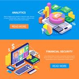 Financial Security Isometric Banners. Safe transaction financial security data isometric horizontal banners set  on colorful backgrounds 3d vector illustration Royalty Free Stock Photos