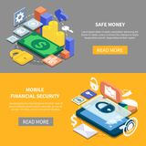 Financial Security Isometric Banners. Isometric set of two horizontal mobile financial security banners 3d isolated vector illustration Stock Photo