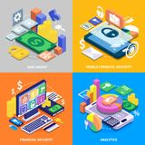 Financial Security Isometric Set. Mobile banking financial security 2x2 colorful isometric icons set 3d isolated vector illustration Royalty Free Stock Photography