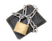 Chained wallet with padlock Royalty Free Stock Images
