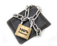 Chained wallet with padlock Stock Photos