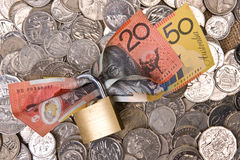 Financial Security - Money In Padlock Stock Image