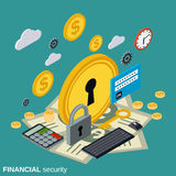 Financial security, money protection vector concept. Financial security, money protection flat isometric vector concept illustration Stock Photography