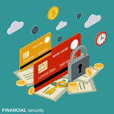 Financial security, money protection vector concept. Financial security, money protection flat isometric vector concept illustration Stock Image
