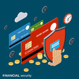 Financial security, online banking, money protection vector concept. Financial security, online banking, web transfer, money protection flat 3d isometric vector Stock Photography