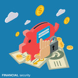 Financial security, online banking protection vector concept. Financial security, online banking protection flat isometric vector concept illustration Stock Photos
