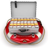 Financial security. Open suitcase filled with packs of Russian banknotes lying on the lifeline. The concept of financial security. . 3D Illustration Stock Photo