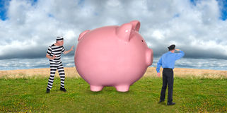 Financial Security, Security Guard, Robber, and Mo. A pink piggy bank representing money, savings, and financial investments, sits in a field while a security Stock Images